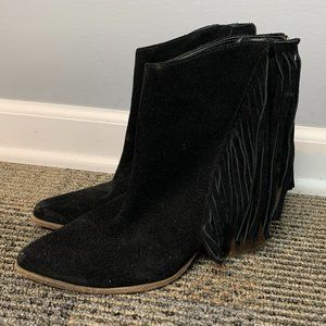 Steve Madden Suede Leather Boots Size 8 B Black